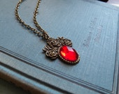 Kiss Me Under The Mistletoe - Necklace - Antiqued Brass Chain, Ruby Red Sparkling Faceted Pendant - Jewelry