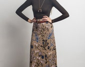 Thistle Maxi Skirt in Pale Pink, Blue and Black on Camel