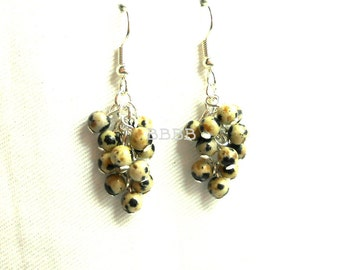 Dalmation Jasper Beaded Cluster Earrings - Silver Plated Surgical Steel French Hooks