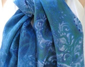 silk scarf Blue Paisley crepe large long unique luxury hand painted wearable art women fashion accessory