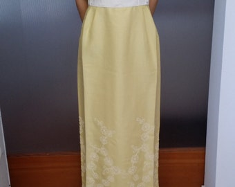 CLEARANCE Never Worn Vintage 50s or 60s Lorrie Deb San Francisco Long Dress - Yellow with Embroidery - Brand New with Original Tags!