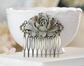 Grey Rose Flower Hair Comb, Gray Grey Wedding Hair Accessory, Antiqued Brass Filigree Hair Comb, Bride Bridal Hair Comb, Bridesmaid Gift