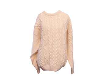 Vintage Cream Colored Cable Knit Fisherman Sweater Size Large