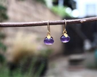 Amethyst Earrings, Purple Gemstone Earrings,  Amethyst Gold Earrings, Jewel Garage