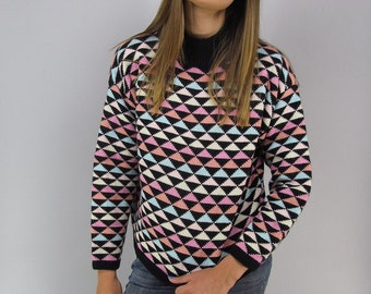 Vintage 80s Sweater, Abstract Slouchy Sweater, Oversized Sweater, Boyfriend Sweater, Pastel Sweater, Jumper Δ size: sm / md