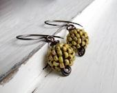 Lemon Berries - handwoven lemon yellow Picasso glass bead earrings with oxidised silver loops - Songbead UK OOAK, narrative art jewellery