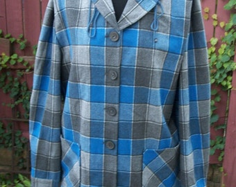 Plaid Jacket-Blue and Gray Jacket with Sweater Hood-Altered Clothing Refashion-VIRGIN WOOL-Size Large
