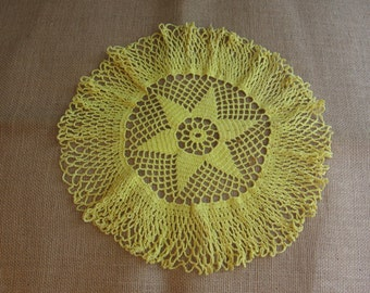 """Large Yellow Star Crochet Doily, Vanity Scarf, 15"""" Star Doily, Yellow Crochet Doily, Round Doily, Centerpiece MyVintageTable"""