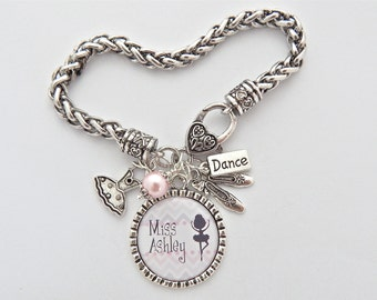 Ballet TEACHER Gift Personalized Dance Charm Bracelet Dance Recital Gift Dance Charm Jazz Tap Hip Hop Gifts for Dancers Teacher appreciation