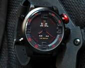 Mens Quartz Watch, Calendar Watch, LED Watch, Valentines Gift, Anniversary Gift, Luxury Watch, Sale, Sports Watch, GEQL-RD1