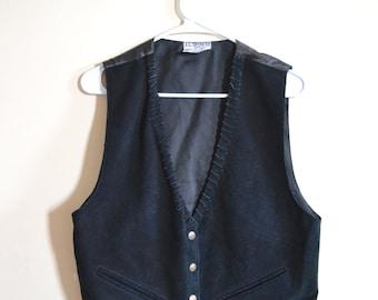 1970s Leather Vest, Southwestern Black Tailored Button Down Vest