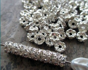 6 mm rhinestone rondelle beads clear wavy edge shiny silver spacer vintage style small, lot of 20 pcs