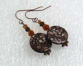Spotted Brown Shell Earrings - Fawn Pattern Drop Earrings, Aged Copper Nickle-Free Ear Wires, Handmade in the USA, Ready to Ship
