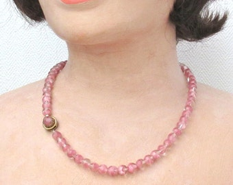 Vintage 50s necklace pink glass beads 50 cm marked GM box clasp