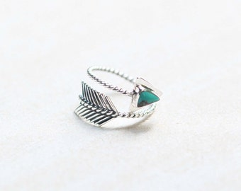 Arrow Ring, Turquoise Ring, 925 Sterling Silver Ring, Turquoise Jewelry, Boho Style, Adjustable Ring, Gypsy Arrow Ring