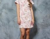 Willow. Australian Preppy Seaside Class Pastel Pink Printed Shift Dress. Open Back. Short