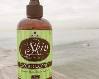 Vegan Body Lotion // EXOTIC COCONUT // Thick like body butter // Available in an 8 oz bottle or jar // non-greasy