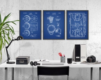 Basketball Patent Prints Set of 3 - Basketball Poster - Basketball Print - Basketball Sports Gift - Hoop - Court - Basketball Wall Art
