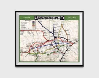 London Underground Map Wall Art Poster - London Tube Metro Subway System Charted in 1908 Print - Distressed Schematic Map Reproduction