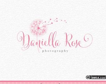 Premade Dandelion Logo, Photography Logo, Wedding Logo, Wisher Logo, Pink Dandelion Logo, Hearts Logo, Logo Design, Business Logo, Watermark