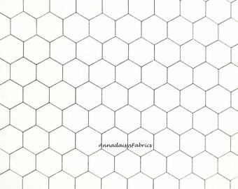 Chicken Wire Fabric, Moda 8255 1, Black and White Chicken Wire Quilt Fabric, Chicken Fabric, Farmhouse & Country Decor, Cotton