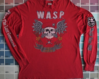 Vintage 80s WASP shirt | The Last Command 1986 world tour | long sleeve concert tee large | W.A.S.P. t shirt | 1980s heavy metal band tee L