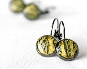 Earrings for gift for birthday present Woodland jewelry for gift Tiny earrings Black earrings Green earrings Moss jewelry Geometric jewelry
