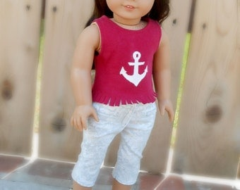 Red Tank Top With Anchor Design & Fringed Edge for American Girl Doll