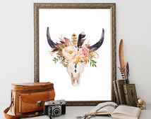 Bull skull tribal wall decor art print, Teen room decor, Adventure print, Boho printable, Southwestern illustration print, Rustic art print