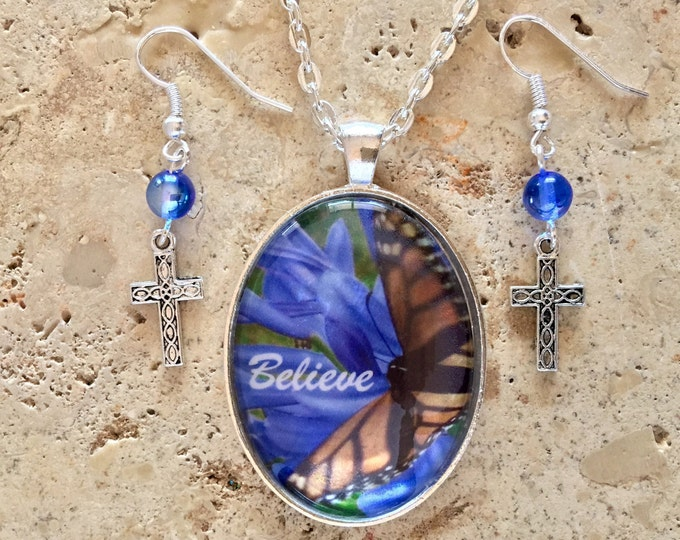 Blue Hawaiian Flowers and Butterfly necklace with cross earrings and blue glass beads with word Believe, Christian Inspirational Jewelry.