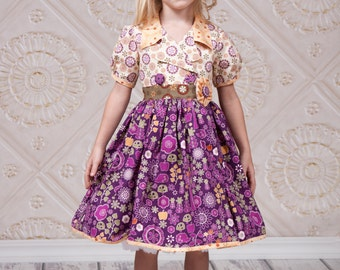 Little Girls Dresses - Woodland Birthday - Toddler Dress - Boutique Clothing - Handmade - Party Dress - Purple -  Easter - 2T...
