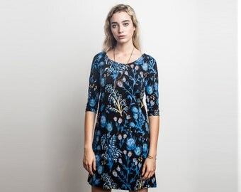 Shift Dress - Printed Dress- Organic Cotton - Long Sleeve - Floral Dress -Eco- Slow Fashion -Thief and Bandit®