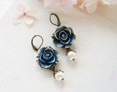 Navy Blue Rose Earrings with Cream White Pearl, Gold Navy Blue Wedding Bridal Earrings, Bridesmaid Earrings,  Gift for Her, Leverbacks