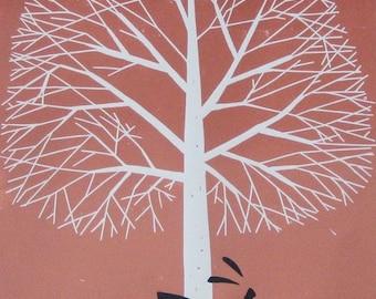 Large Tree & Hare Linocut - Lino Print - Original  Limited Varied Edition of 15 only - Rabbit - Printmaking Art - Signed Giuliana Lazzerini