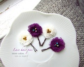 MORE COLORS PICK 4 Small Mini Baby Hair Clips for Toddler Girls Hair Flower, Children Hair Accessories Purple and Ivory Hair Pin, Hair piece