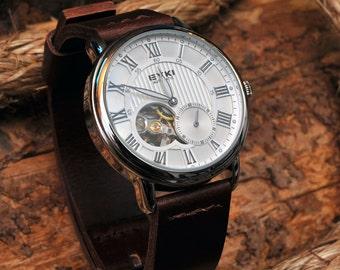 Mens Open Heart Watch, Luxury Watch, Graduation Gift, Anniversary Gift, Handmade Leather Watch, Gift For Him, GEML-WD01