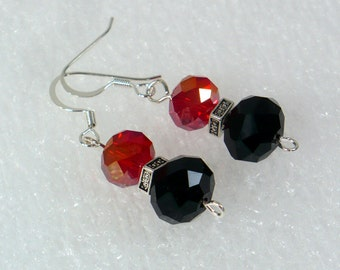 Bold Red & Black Dangle Earrings - Elegant Earrings with Faceted Glass Crystals, Nickle-Free Silver Plated Earwires, Handmade in the USA
