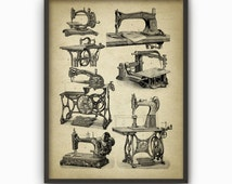 Sewing Machine Print - Vintage Sewing Machine Illustrations - Needlecraft - Embroidery - Quilting - Patchwork - Tailoring - Dressmaking