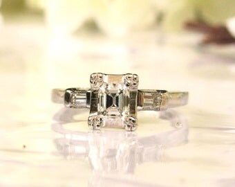 Art Deco Emerald Cut Engagement Ring 0.58ctw Diamond Vintage Engagement Ring 14K White Gold Baguette Diamond Wedding Ring & Appraisal Size 6