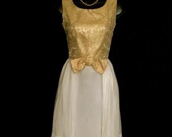 60's Gold Lame and Chiffon Dress        VG98