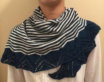 Hand knit shawl, shawlette, scarf, navy blue and white stripes, merino wool