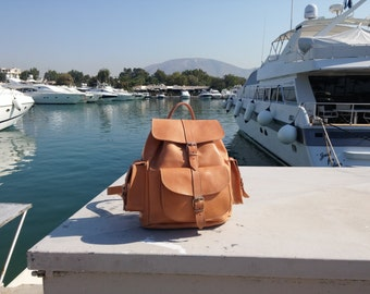 Leather Backpack - Leather Rucksack. Handmade in Greece. LARGE Size. 3 pockets. Natural Color. Other colors: Black, Tobacco, Dark Brown.
