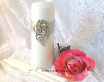 Wedding Unity Candle Brooch Unity Candle Rhinestone Unity Candle Crystal Unity Candle Ivory Unity Candle Romantic Color & Ribbon Choice