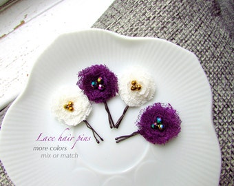 MORE COLORS 4 Lace Fabric Hair Clips for baby Toddler Girls Hair Flower, Children Hair Accessories Purple and Ivory Hair Pin, Cute Hairpiece