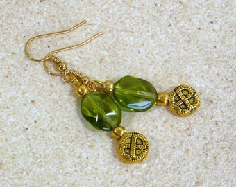 Green & Gold Earrings: Celtic Style Dangle Earrings, Nickle-Free Gold Plated Earwires, Handmade in the USA, For Her, Ready to Ship
