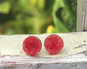 Red Faux Druzy Stud Earrings with Titanium or Stainless Steel Posts, 12mm, Minimalist, Lightweight