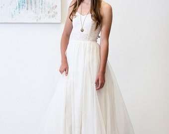 Ty Wedding Dress  // Bohemian Princess Lace and Silk Organza Gown // Gathered Sequin and Silk Organza Skirt/ High Low Illusion Hem