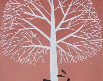 Tree of Life & Hare LARGE Linocut - Lino Print - Original  Limited Edition of 15 only - Rabbit - Printmaking Art - Signed Giuliana Lazzerini