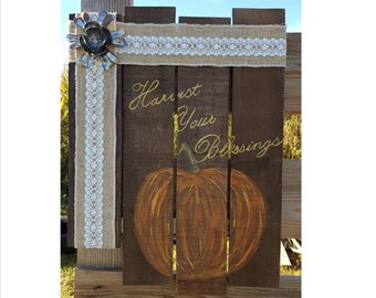 Harvest Your Blessings Pallet Sign with Metal Flower