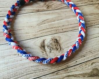 Titanium Tornado Sports necklace- Red White Blue Phillies Cubs Rangers Giants Bills Ole Miss